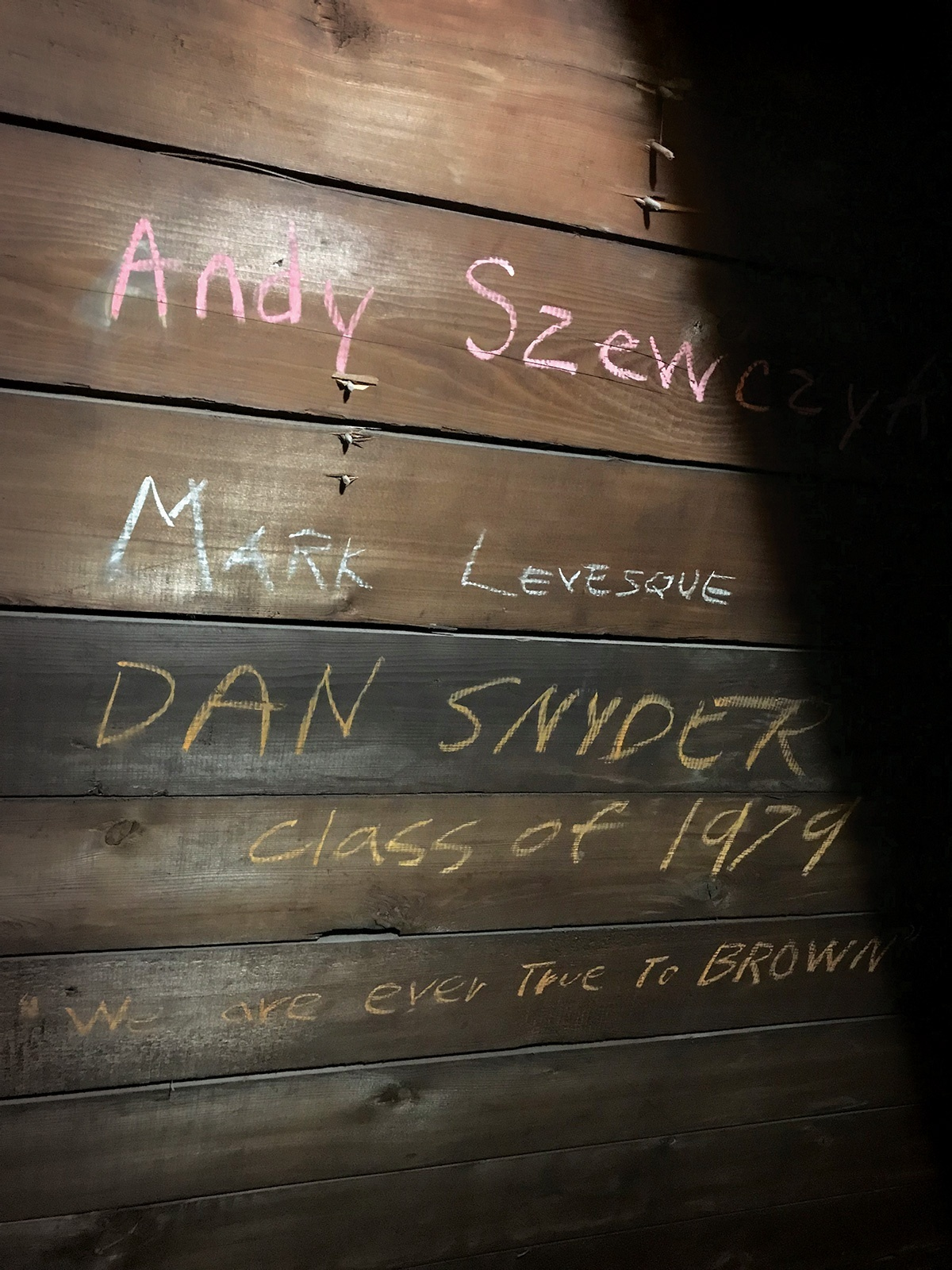 Photo of graffiti on a wooden wall, with the names of several people listed.