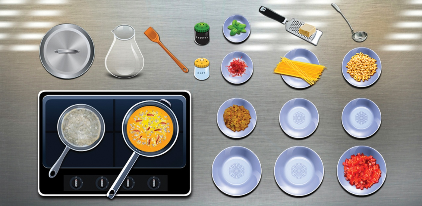 Image of a screen capture from the app: illustrations of plates and food related items.
