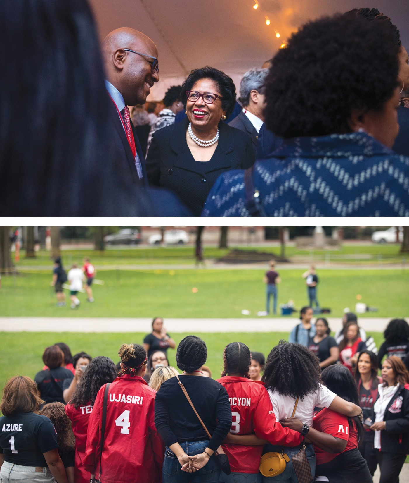 Photo of former President Ruth J. Simmons at top, and at bottom: friends pose for a photo in front of Faunce House.