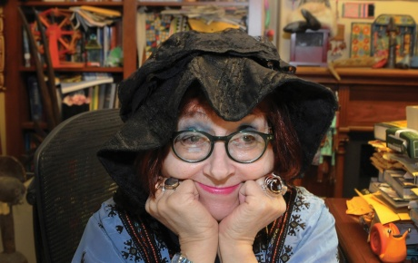 Photo of professor Felicia Nimue Ackerman in her office.