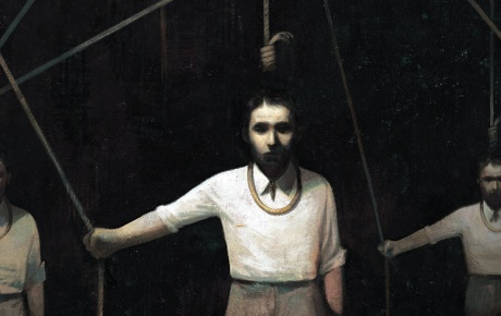 Illustration of a man in in the gallows, holding the rope that releases the noose around his neck