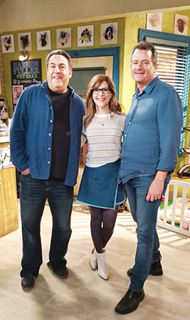 Bryan Behar, Steve  Baldikoski and Lisa Loeb on the set of Fuller House.