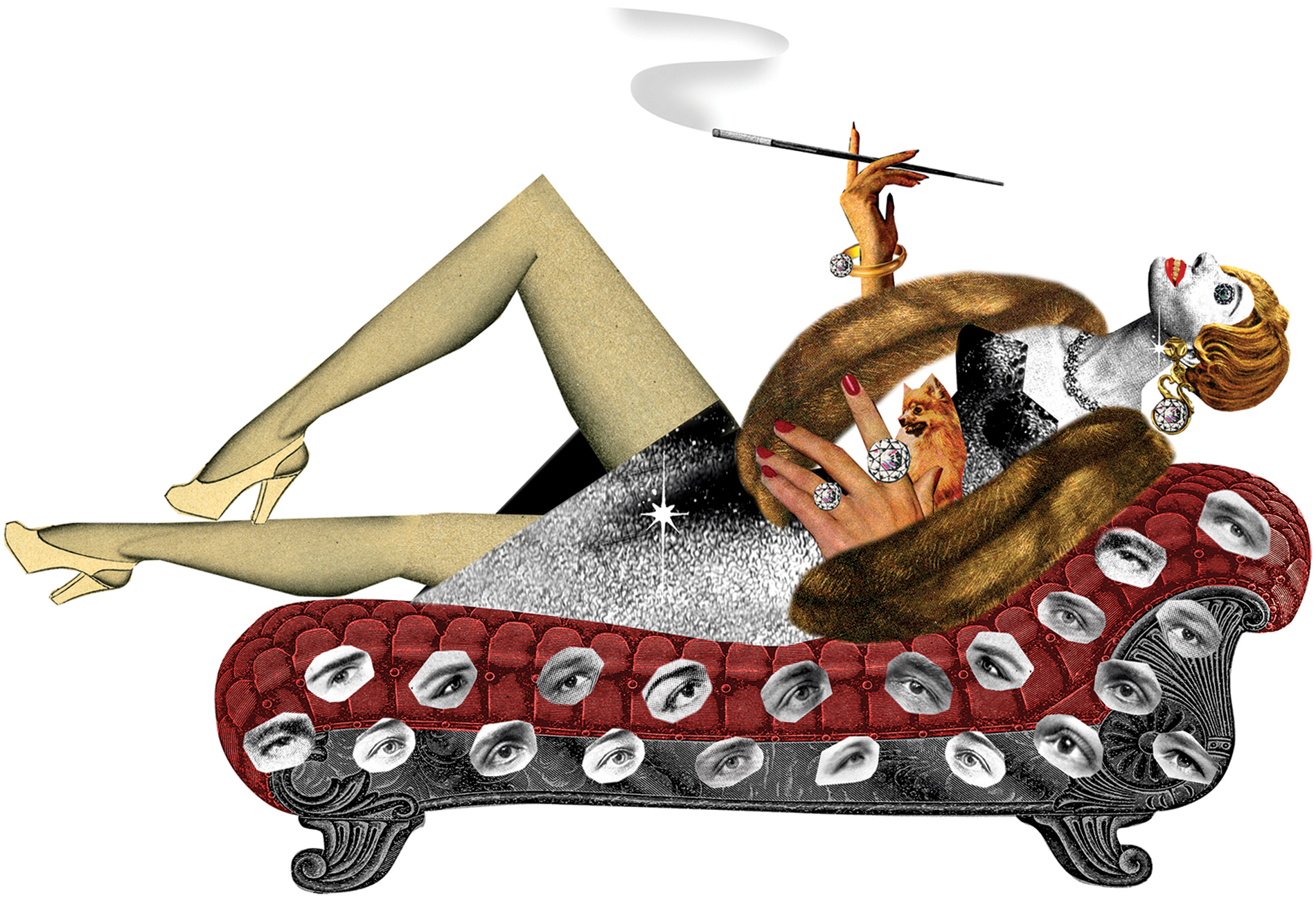 illustration of rich woman lounging on chaise