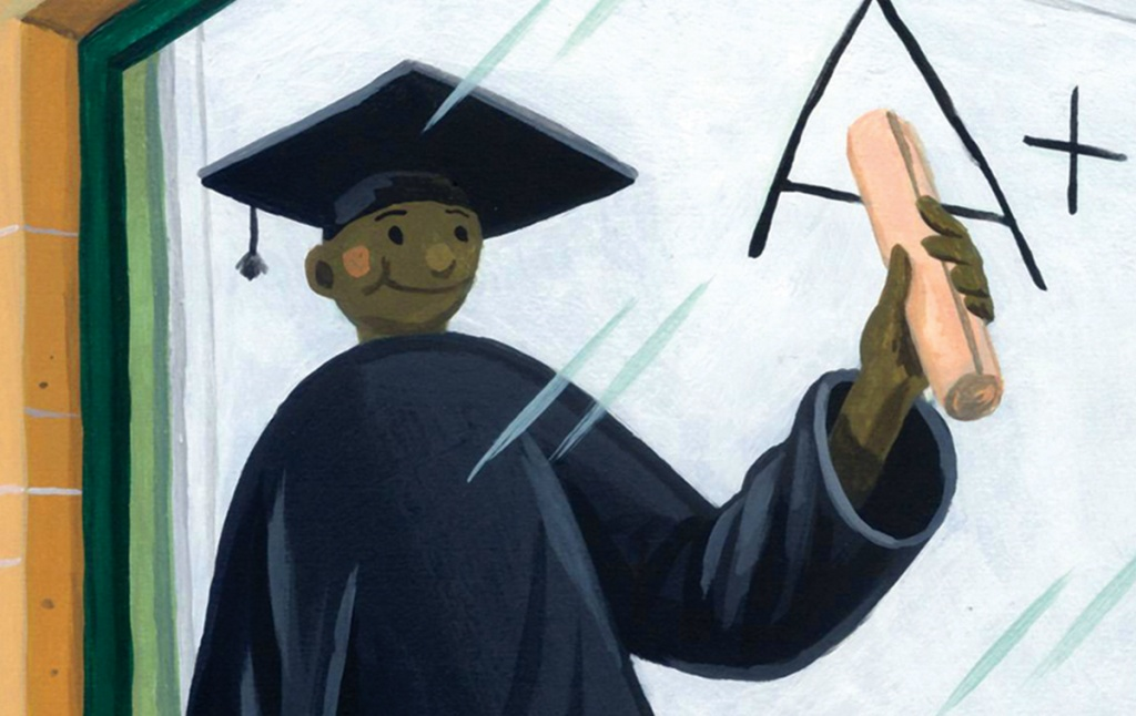 """Illustration of a young man spraypainting an """"A"""" on a wall, looking through a plate glass window at a seemingly identical young man in a cap and gown, holding up a diploma, with an """"A+"""" seen on a whiteboard."""
