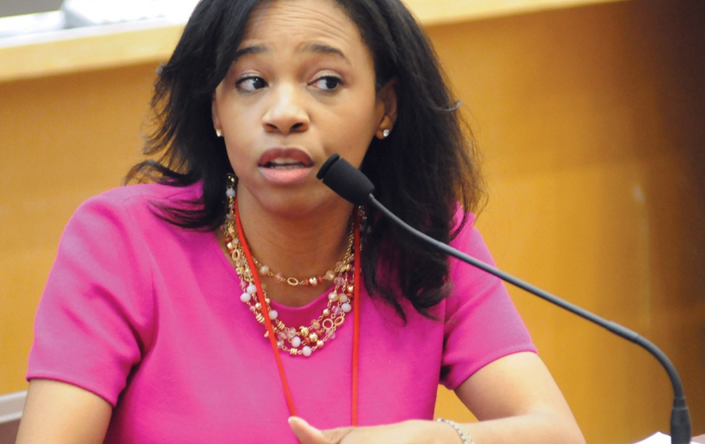 """Tahesha Way '93 at the Commencement forum """"Our Politics, Our Future."""""""