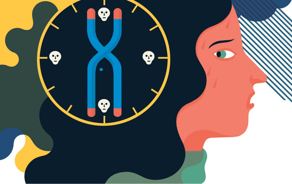 Illustration of a woman warily eyeing genetic symbols