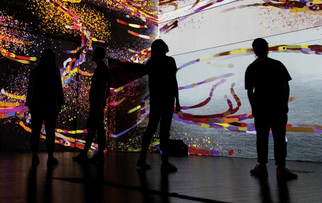 Gallery-goers experience audiovisual installation