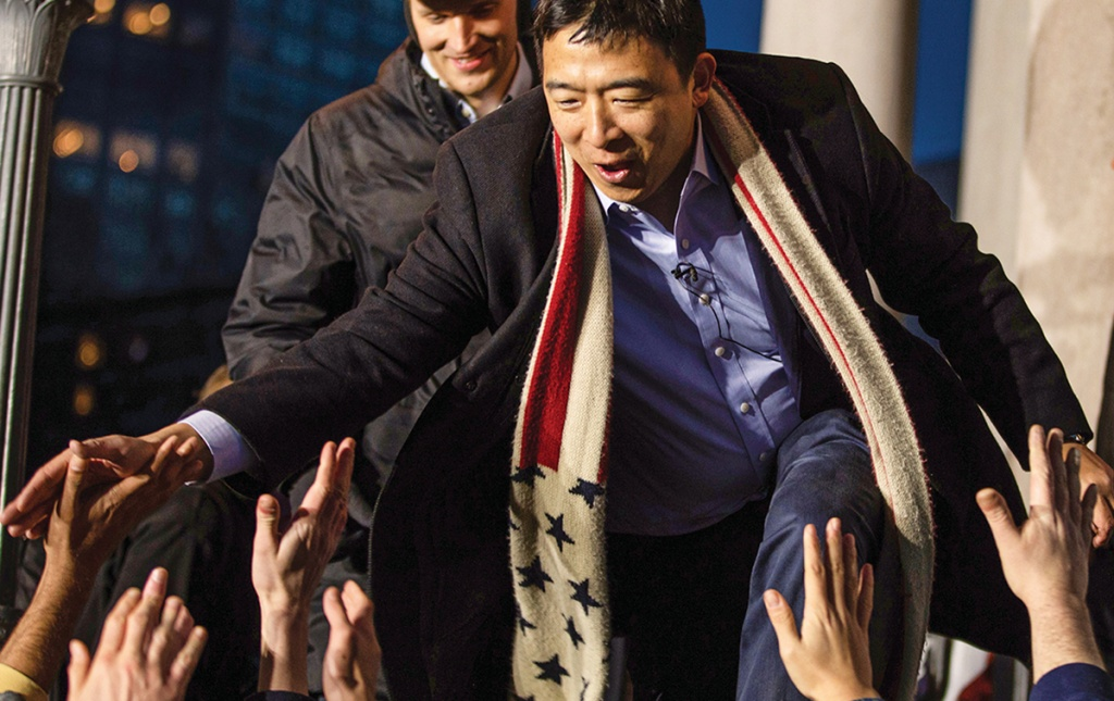 Andrew Yang at a campaign rally