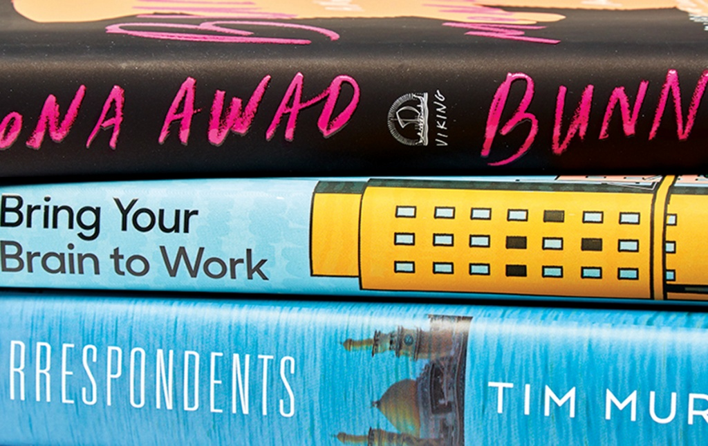 Bunny, by Mona Awad '14; Bring Your Brain To Work, by Art Markman '88; and Correspondents, by Tim Murphy '91 stacked