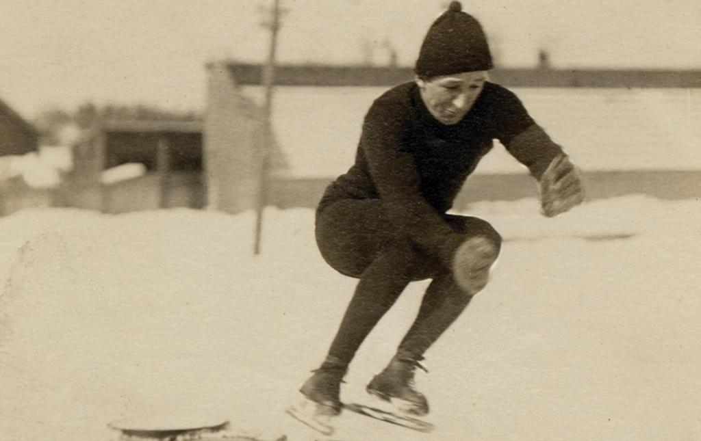 Photo of student skater jumping barrels