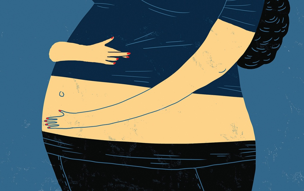 Illustration of pregnant woman holding her belly