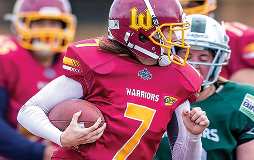 Heather Marini playing tackle football in Australia