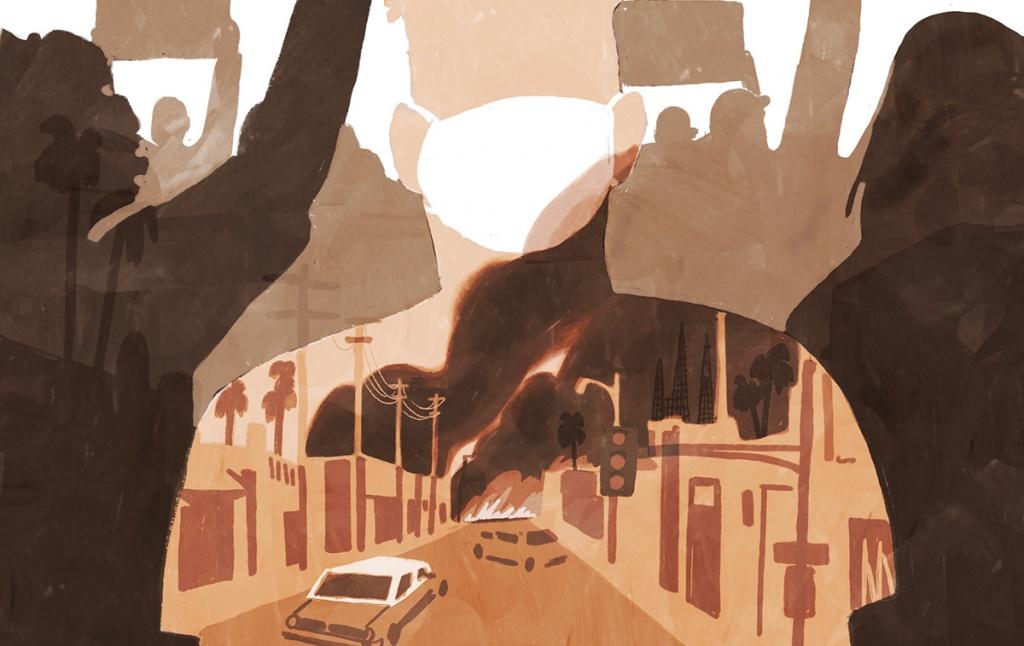Illustration of a riot scene