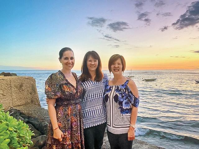 Justine Stamen Arrillaga '92, Christine Shin Yin '92 MAT, and Jodi Shin Yamamoto '93