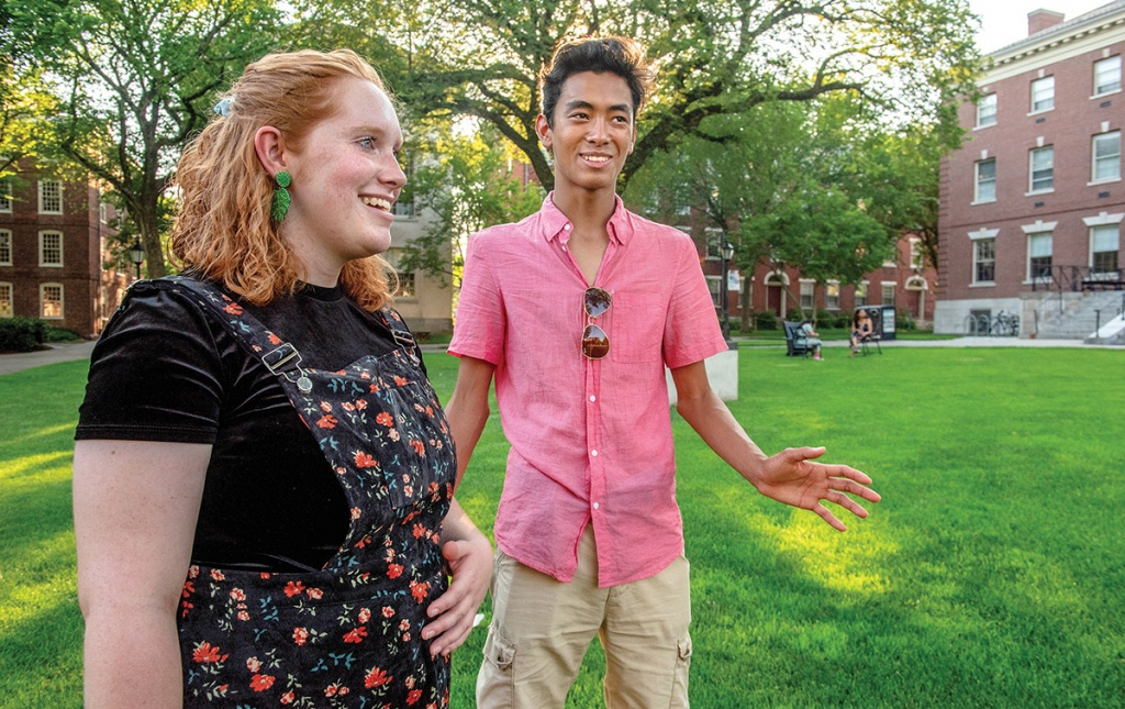 Image of Maddie Walters and Alejandro Ingkavet on Brown campus green
