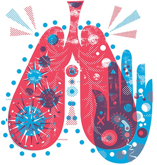 Colorful illustration of lungs with bacteria floating inside.