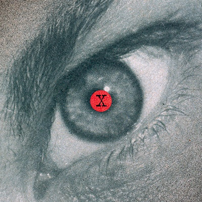 Illustration of an eye with a red pupil.