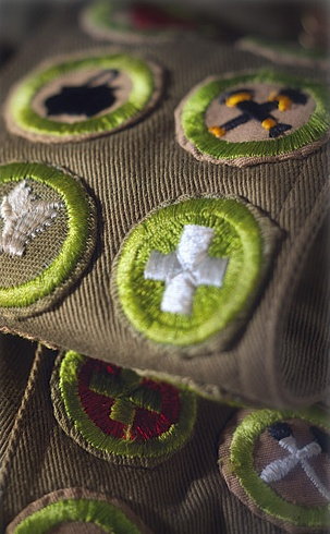 Photo of Boy Scout badges.