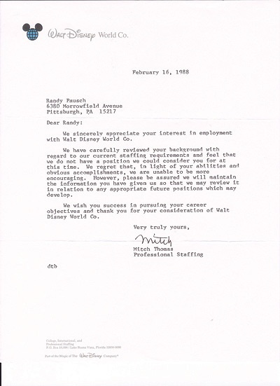 Letter from Walt Disney Co. turning down a job application and wishing Randy Pausch the best.