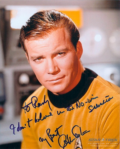 A signed photo of a Star Trek character dedicated to Randy Pausch.