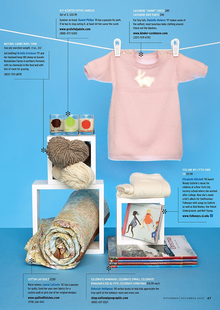 Spread from magazine layout with gift recommendations.
