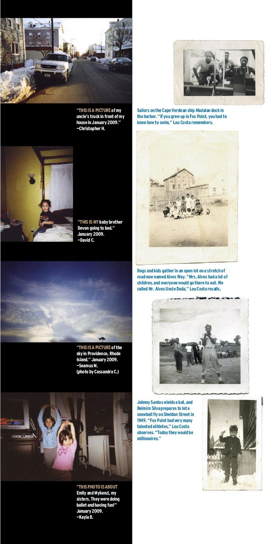 Magazine spread of various photos.