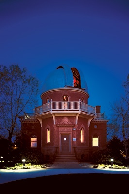 Photo of the observatory against a night sky.