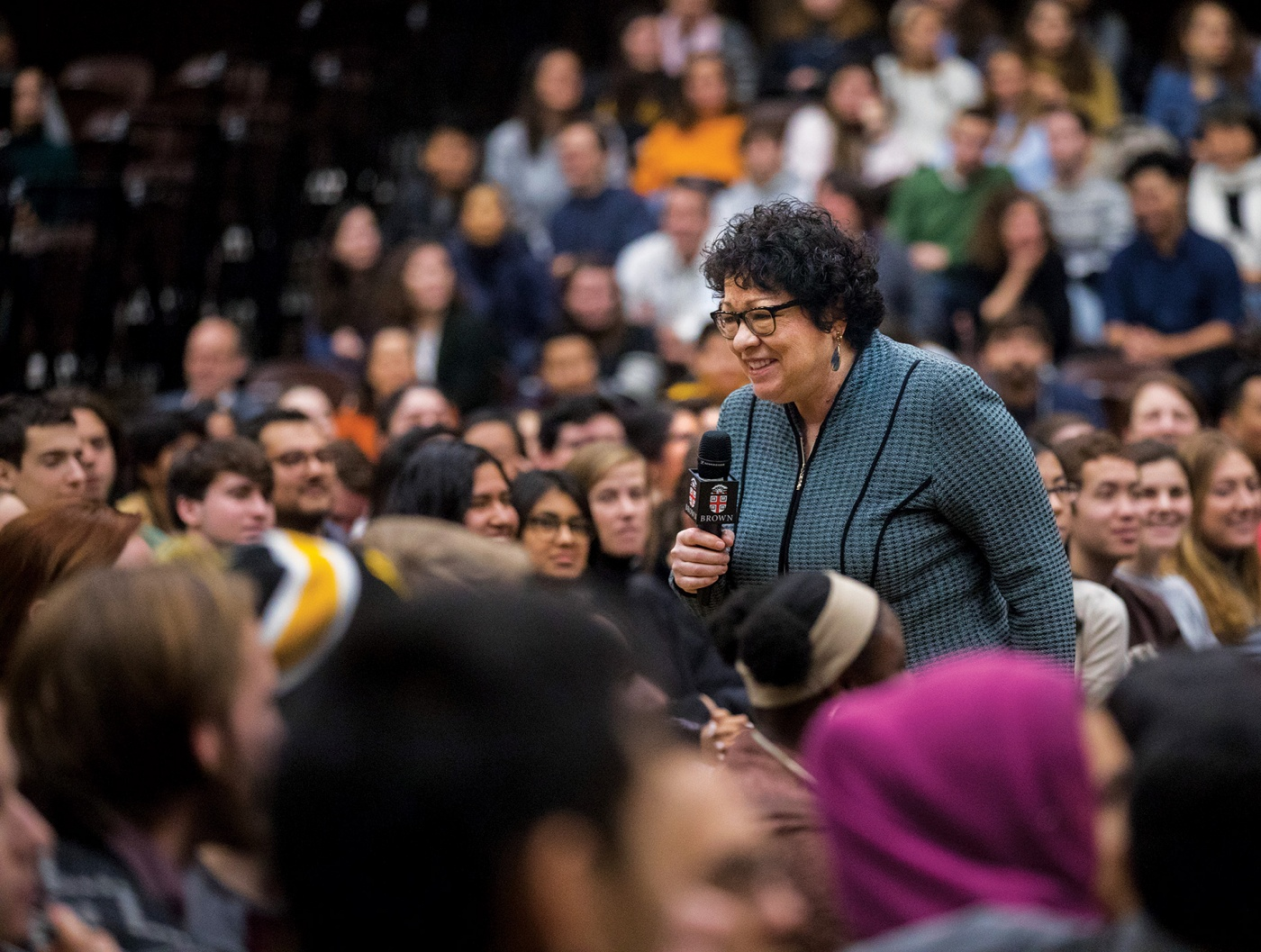 Justice Sonia Sotomayor walking among Brown students