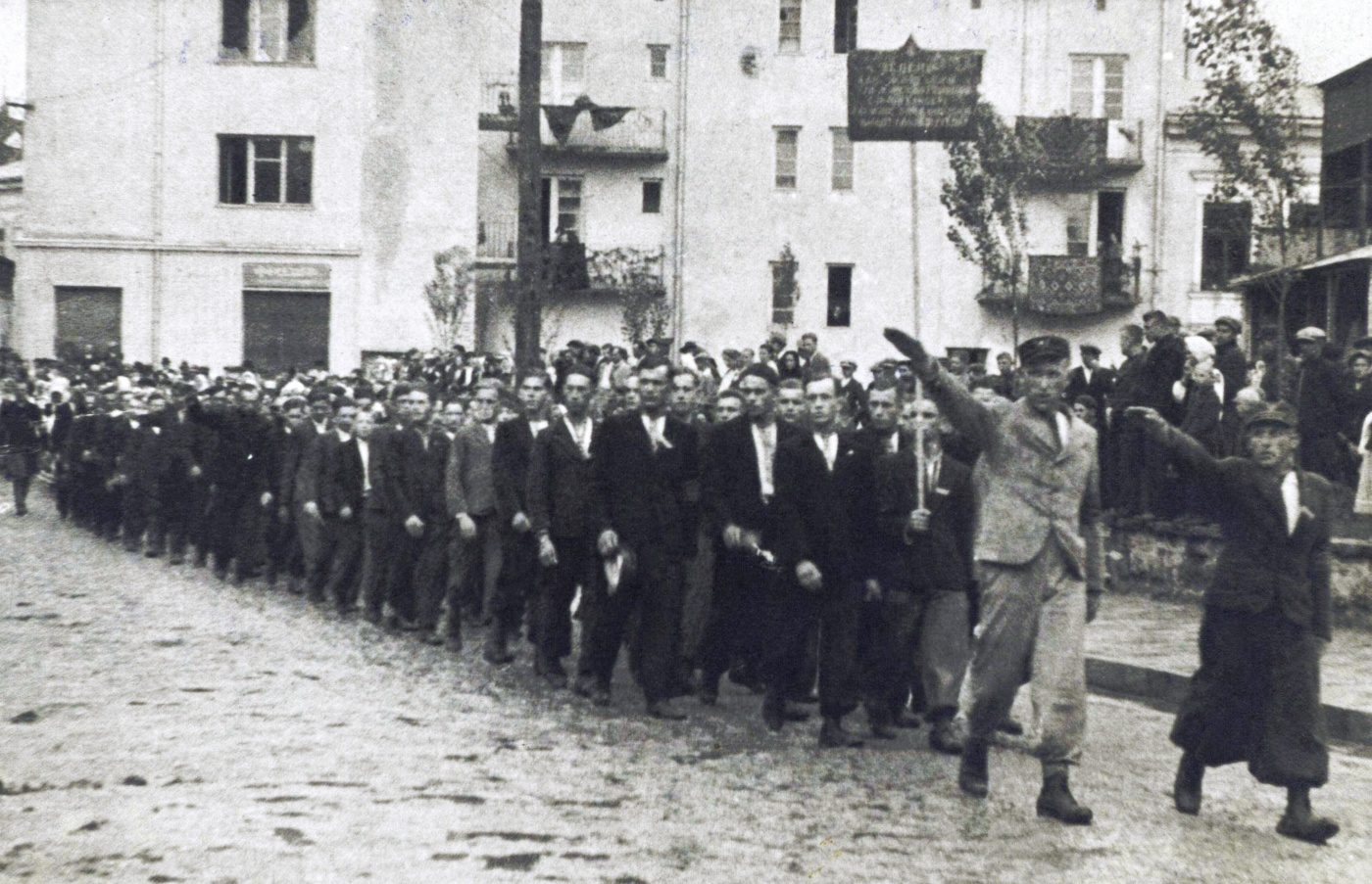 "Volunteers for Waffen-SS Division ""Galicia"" march in Buczacz in 1943. Most, who wanted an independent Ukraine, would  end up fighting the Soviets on the eastern front."