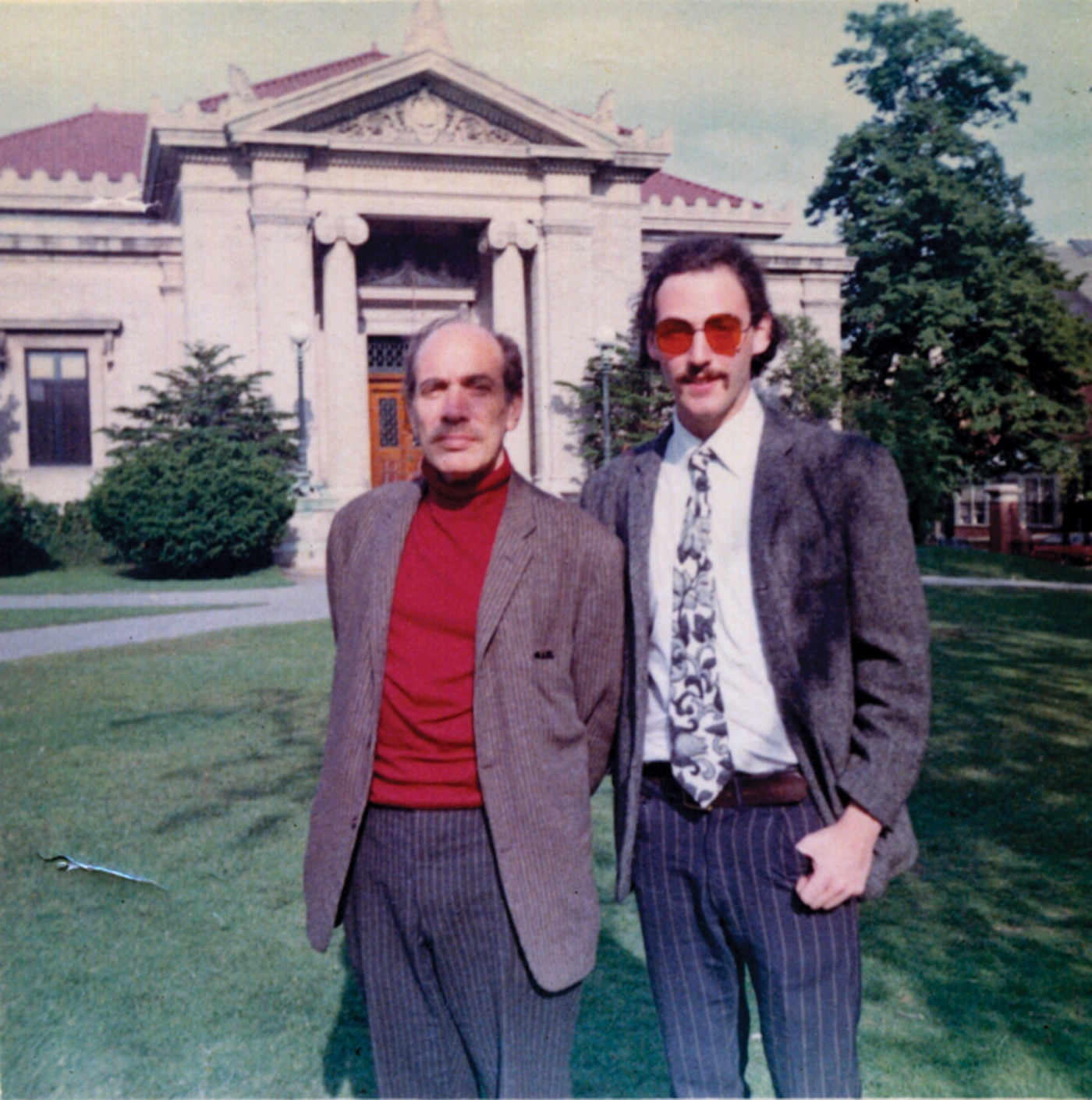 Bornstein (right) at Brown in the late 1960s with theater professor James O. Barnhill.