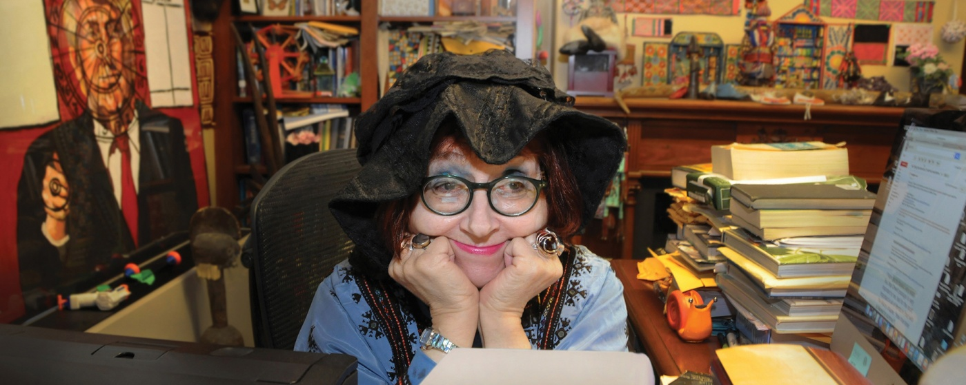 Photo of professor Felicia Nimue Ackerman in her office.