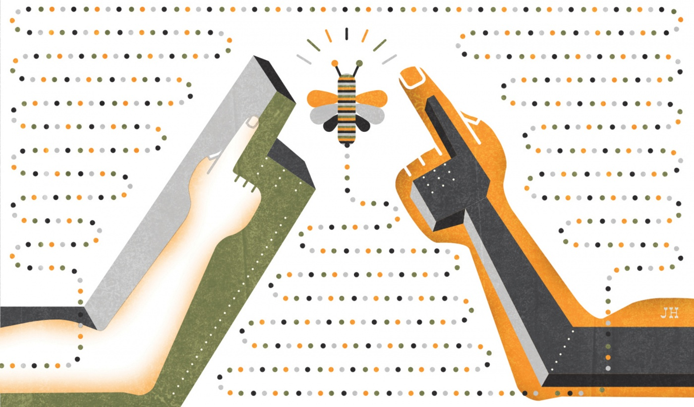 Illustration of robot and human hands