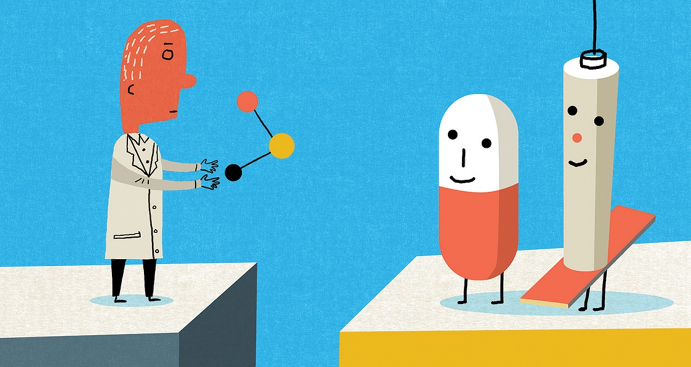 Illustration of researcher pill and medical needle