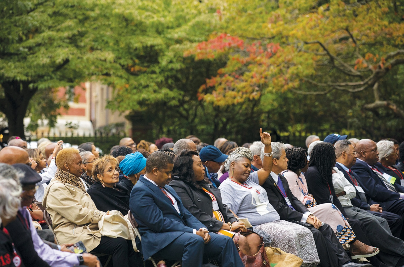 Photo of ceremony to honor the ancestors at the Slavery Memorial.