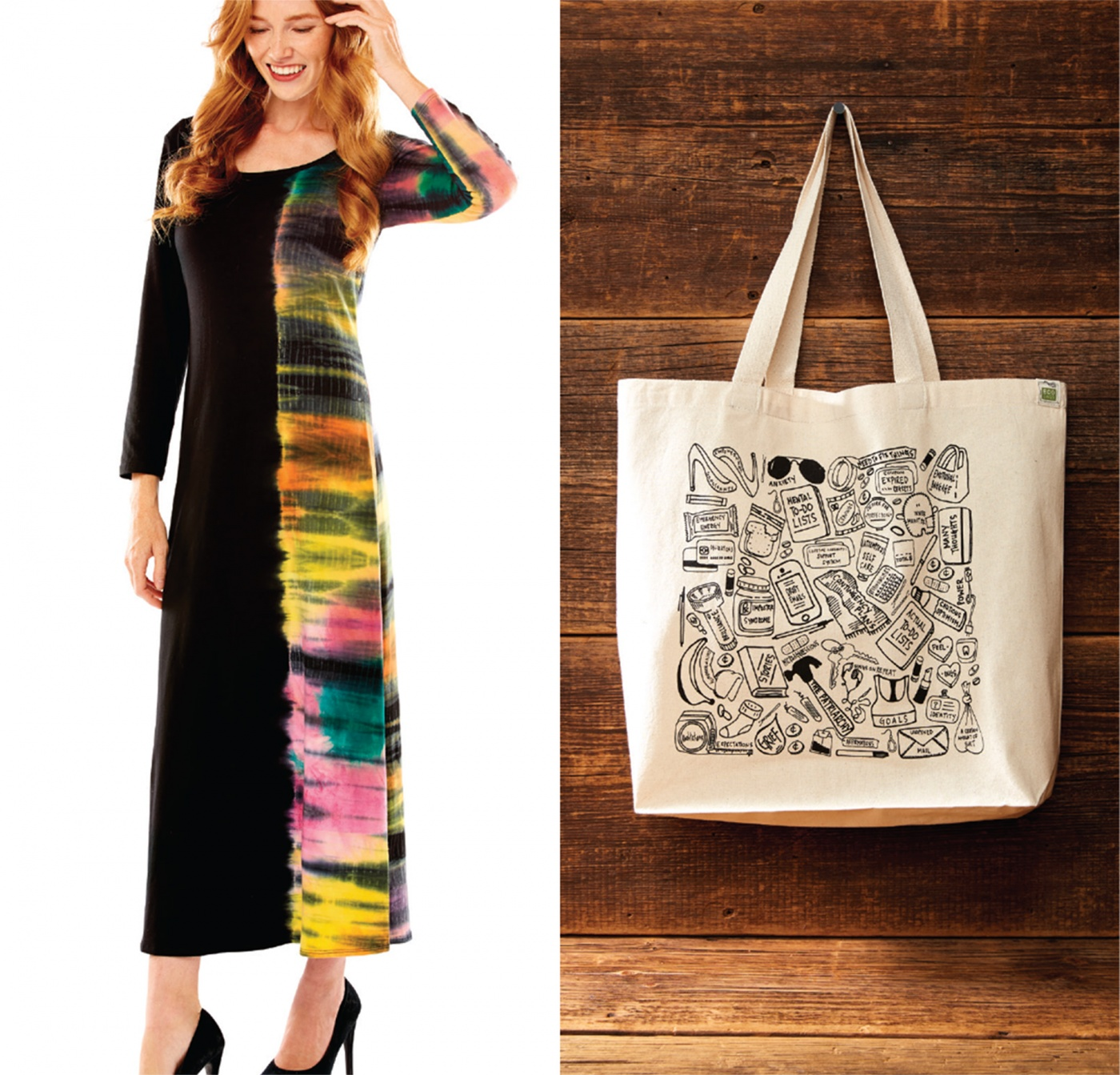 tie dye dress and tote