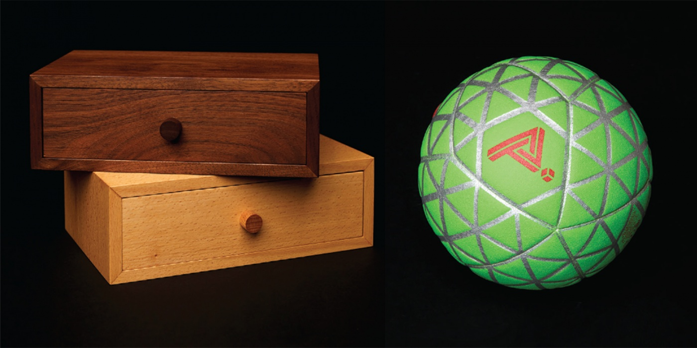 wooden boxes and digital ball