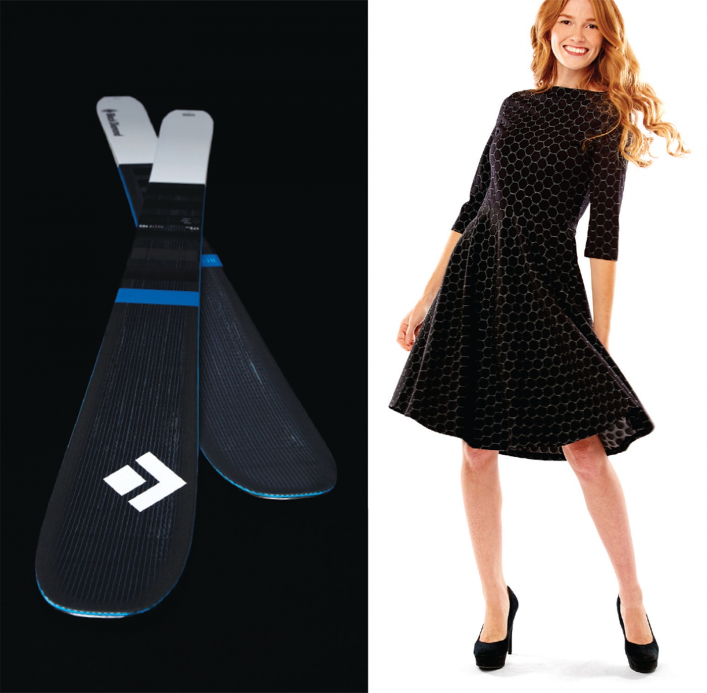 skis and black pique dress