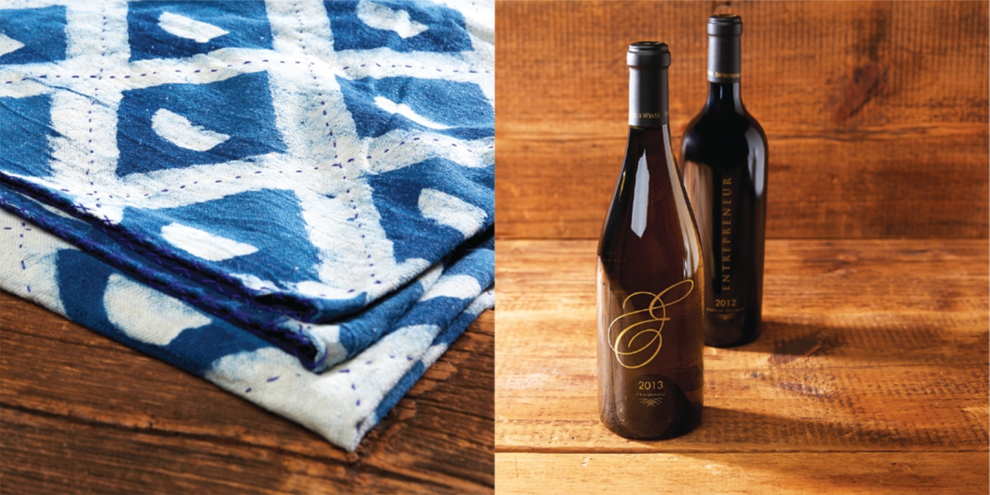 batik throw and wine