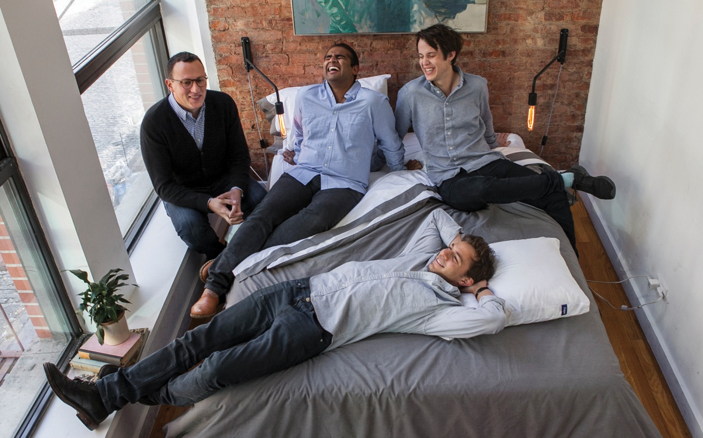 Gabriel Flateman, Philip Krim, Neil Parikh, and T. Luke Sherwin on a Casper mattress.