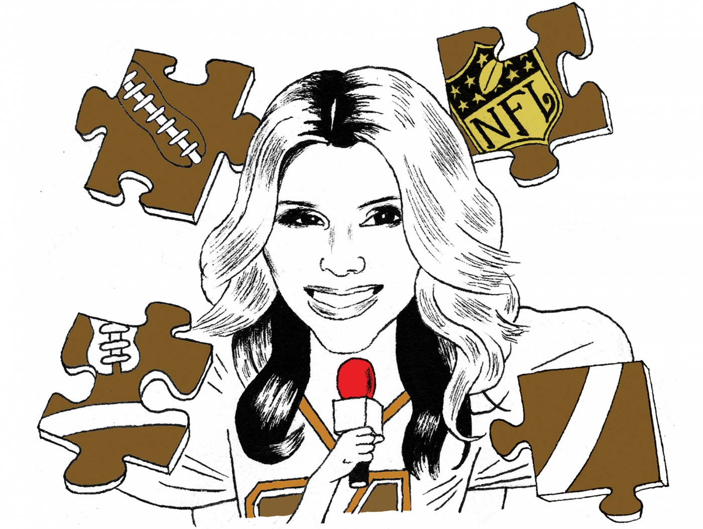 Line illustration of Liz Loza with a microphone