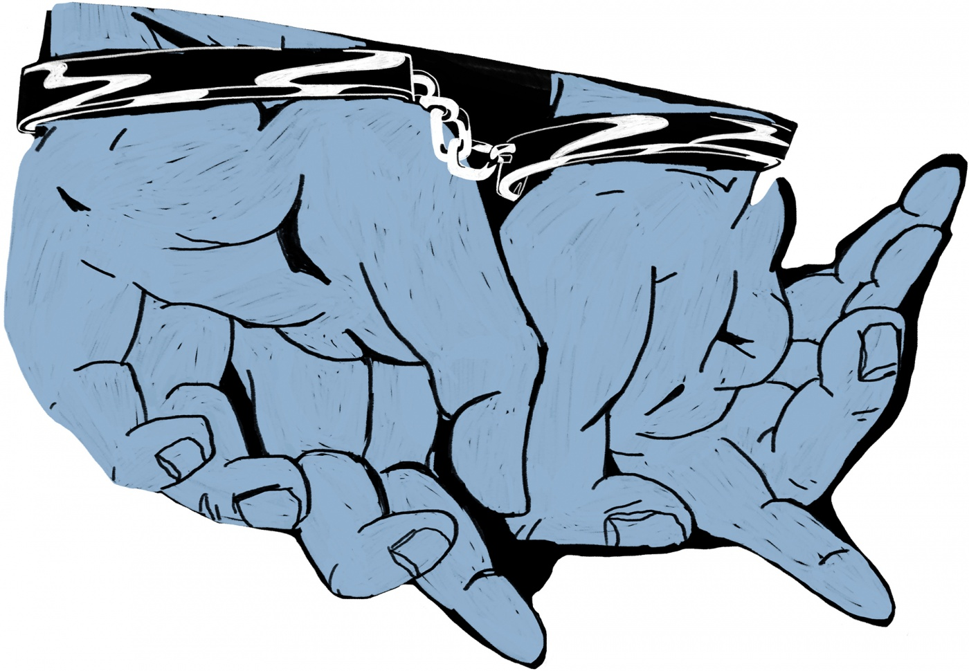 An illustration of hand-cuffed hands that form the shape of the USA