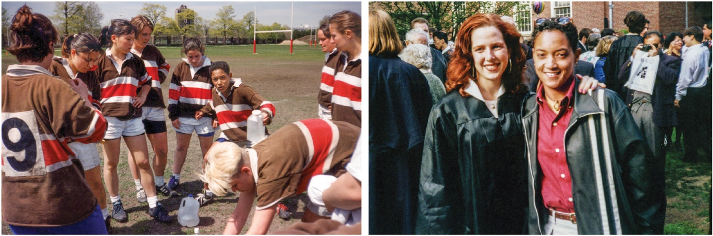 Two photos of Brunner at Brown: w her rugby team; w her girlfriend