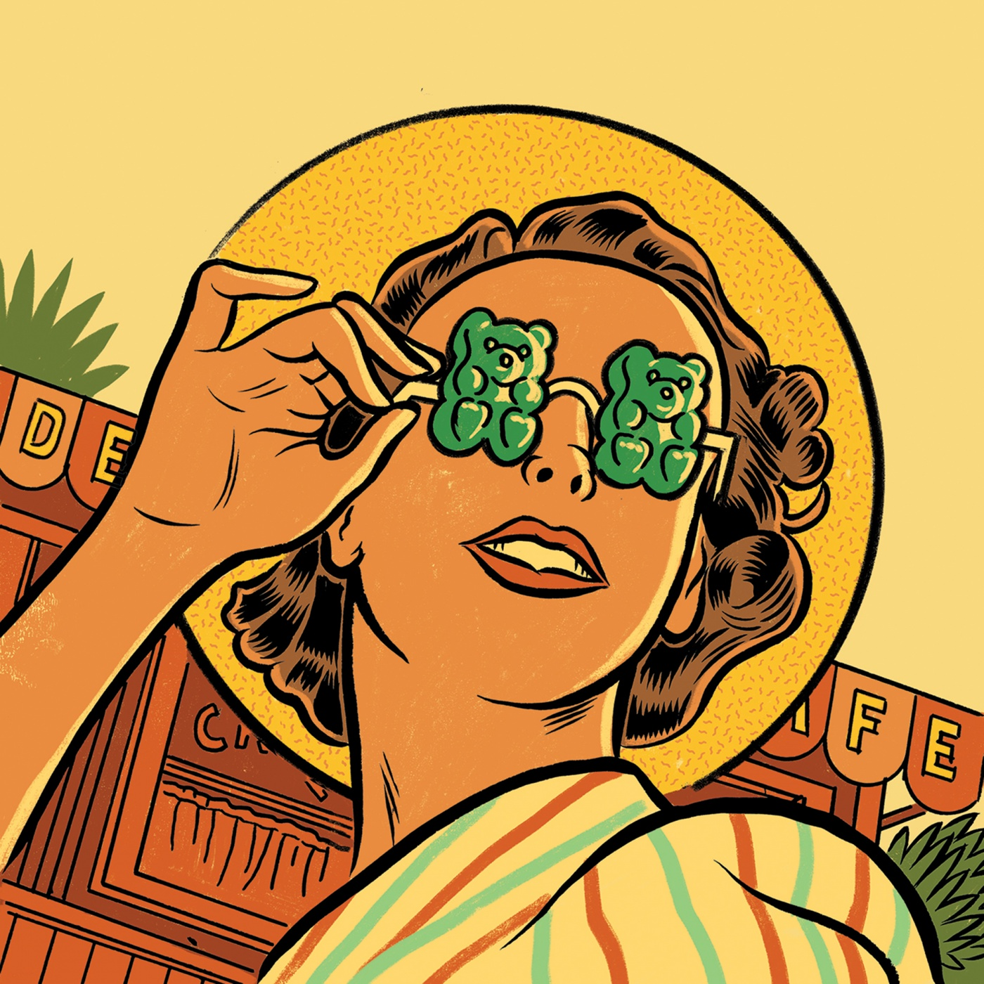 Illustration of a woman wearing sunglasses that have gummy bear lenses