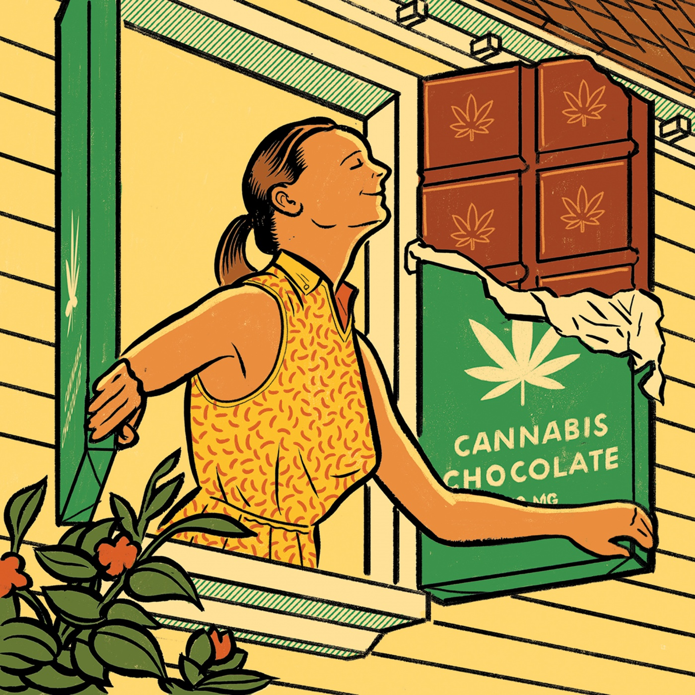 Illustration of a woman enjoying the air from an open window with cannabis chocolate bar shutters