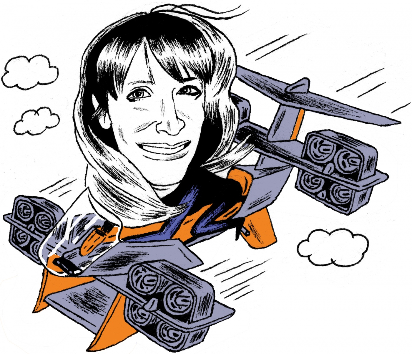 Drawing of Gwen Lighter '91 in a flying device