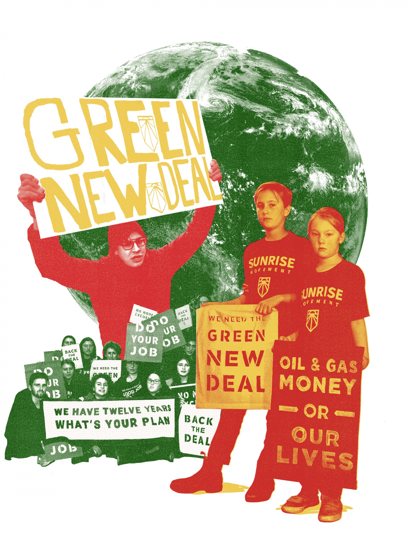 illustration of student climate protesters