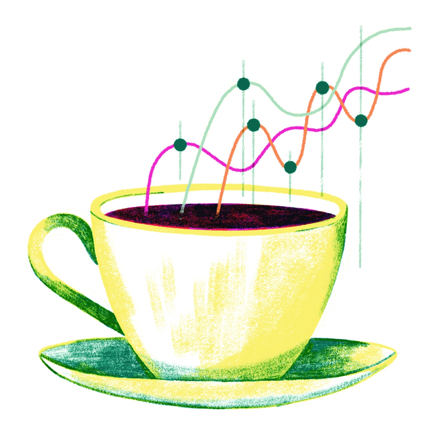 illustration of  cup of coffee with a fever graph in its steam