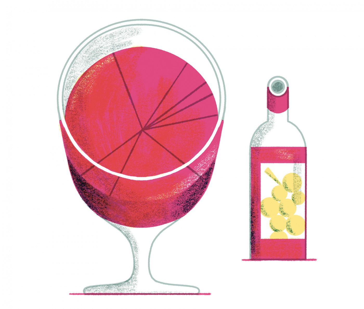 Illustration of a glass of wine with a circle graph on the surface