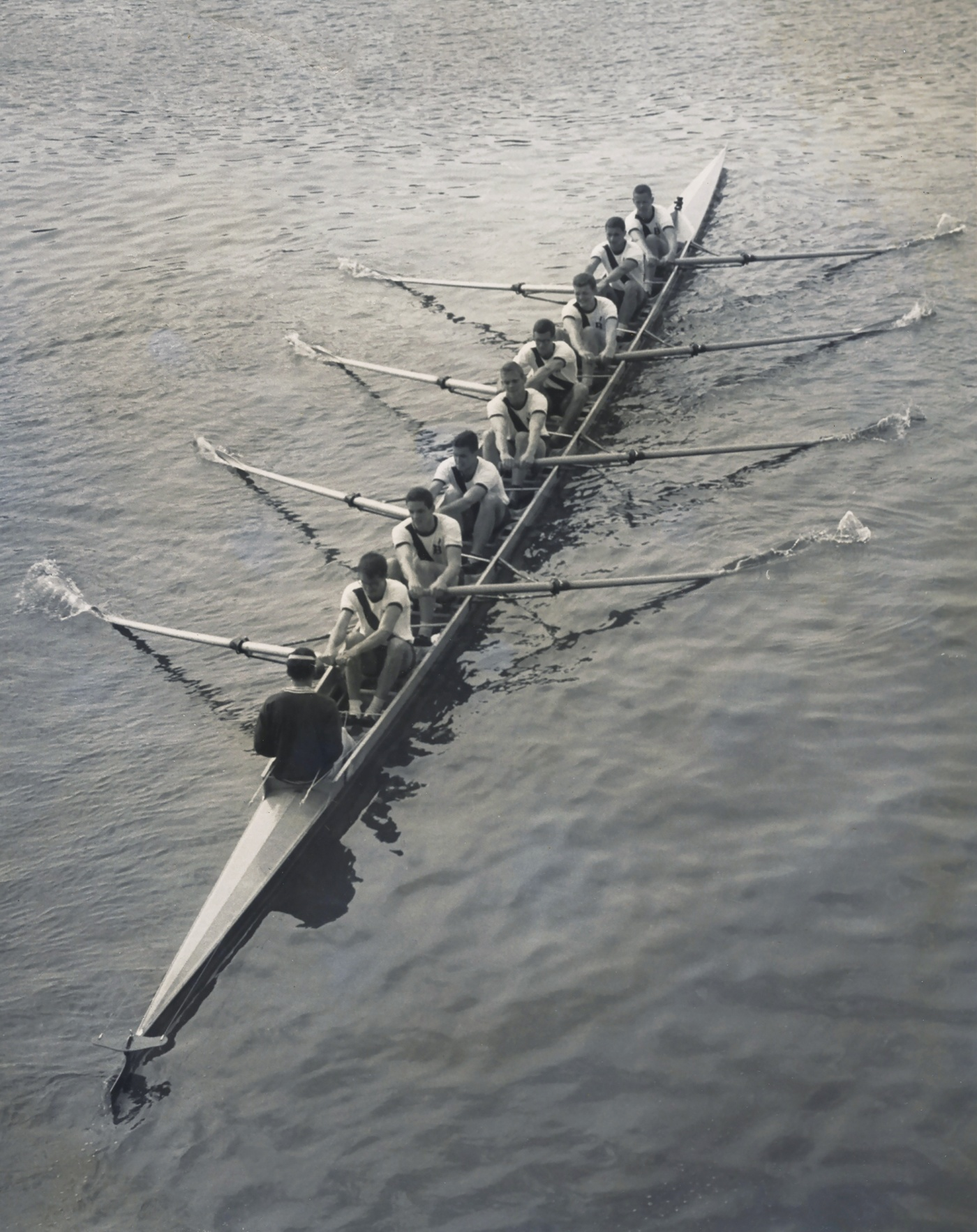 overhead shot of the varsity rowing team 1960