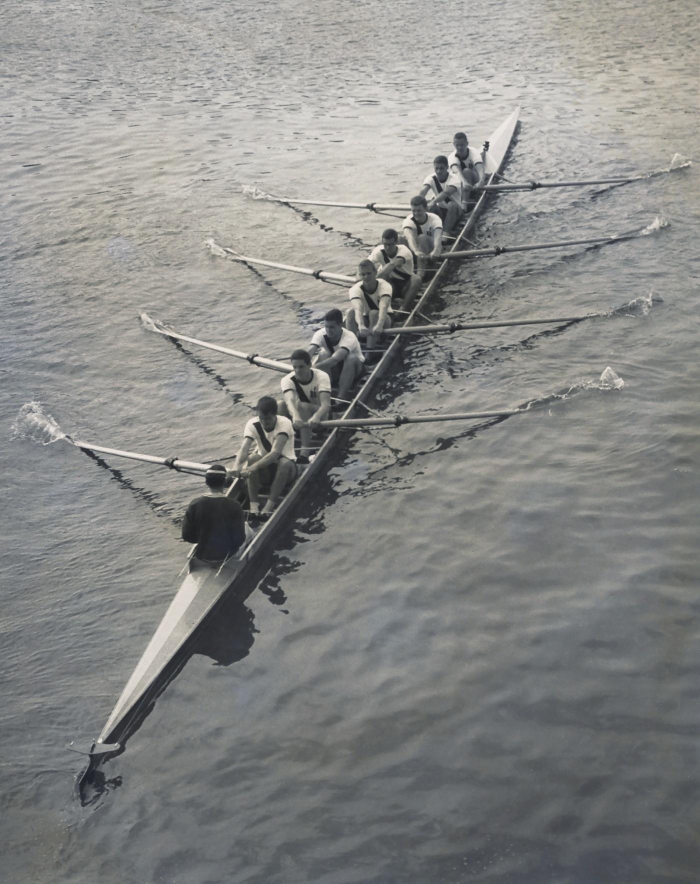overhead shot of the varsity rowing team 1960